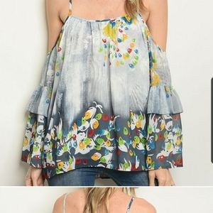 cold shoulder,spaghetti ,strap with floral blouse